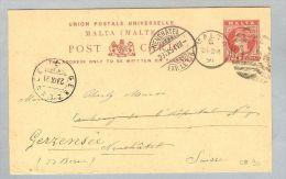 Malta 1891-09-24 Ganzs. Nach Neuchatel Weitergel.Gerzensee - Malte