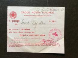 CRI - COMITATO PROVINCIALE DI FORLI' - RICEVUTA L. 10 QUOTA SOCIALE 1938 - Croce Rossa