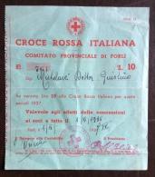 CRI -  COMITATO PROVINCIALE DI FORLI' - RICEVUTA QUOTE SOCIALI  ANNO 1938 - L.10 - Croce Rossa
