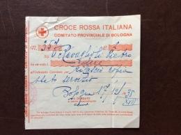 CRI -  COMITATO PROVINCIALE DI BOLOGNA ´ - RICEVUTA VERSAMENTO DI L. 2 - 1938 - XVII - Croce Rossa