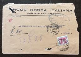 CRI -  COMITATO CENTRALE ROMA - FRONTE DI BUSTA TASSA A CARICO DESTINATARIO  L.20   - 1948 - Croce Rossa
