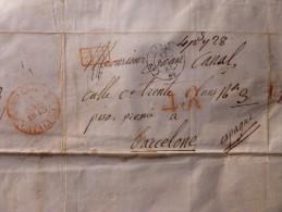 LETTRE P P PARIS A BARCELONE 1848 TAXE 4 REALES - Storia Postale