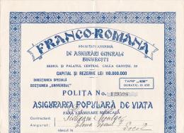 Romania - Bucuresti - Ensurance Policy - Societatea Franco Romana De Asigurari Genrale - Invoices & Commercial Documents