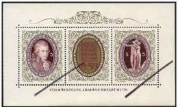 Austria/Autriche: Specimen, Miniature Sheet, Wolfang Amadeus Mozart - Music