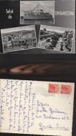 431) CIVITAVECCHIA NAVE PANORAMA VIALE GARIBALDI MULTIVEDUTE VIAGGIATA 1954 - Civitavecchia