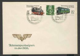 DDR Germany 1983 Letter + Mi 2792 + 2793 YT 2435 + 2436 ** Wernigerode-Nordhausen Steam Locomotive + Passenger Carriage - Treinen