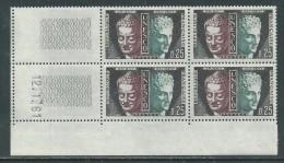 France Service N° 23 XX, UNESCO  0.25  F , En Bloc De 4 Coin Daté Du 12 . 1 . 61 , Sans Trait Sans Charnière, TB - Coins Datés