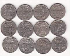 Norvegia 10 Øre Km#411 - 12 Coins Used - Norway