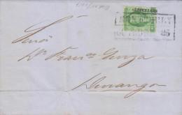 G)1857 MEXICO, DOS REALES MONTERREY DISTRICT, MONTERREY BLACK BOX, CIRCULATED COMPLETE LETTER TO DURANGO, XF - Mexico