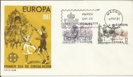MADRID SPD FDC EUROPA CEPT 1981 ROMERIA DEL ROCIO JOTAS FIESTAS POPULARES - Sin Clasificación