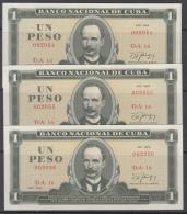 1986-BK-13 CUBA 1986 UNC 1$. JOSE MARTI. 3 CONSECUTIVE. - Cuba