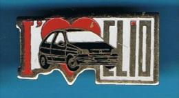 PIN´S //  ** I LOVE RENAULT CLIO * NOIRE ** - Renault