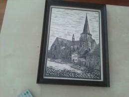 Machelen De Kerk 1905 Getekend Door Dekegel Uit 1975 - Dessins