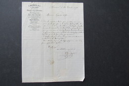Facture Lettre Invoice Hensell Louvroil Cachet Timbre Maubeuge Quincaillerie 1870 - France