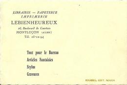 """03 MONTLUCON -  Librairie """" LE BIENHEUREUX """" Carte Pub , 4 Scans - Montlucon"""