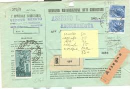 CAMPIDOGLIO RUOTA £.100,S142, +SIRACUSANA £60+60, IN TARIFFA ATTI GIUDIZIARI,1961,TIMBRO POSTE VENEZIA ASSICURATE, ESTE - 1946-60: Marcophilia