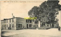 Cpa 17 Ile De Ré, Les Portes, Place Et Monument Aux Morts, Animation Devant Le Restaurant..., Carte Pas Courante - Ile De Ré