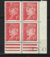 """Coins Datés  YT 514 """" Pétain 1F Rouge """" 1941-42 Neuf - 1940-1949"""