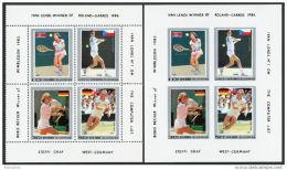 Korea 1986, SC #2584a-d, Perf & Imperf, M/S Of 4, Famous Tennis Players - Tennis
