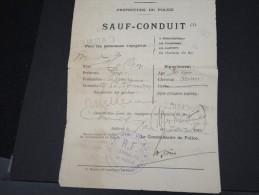 FRANCE- Sauf Conduit Du Gouvernement Militaire De Paris En 1915  Délivré A Pau Pour Cannes  à Voir     P6345 - Documents