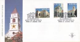 Aruba - FDCE55 - Monumenten Oranjestad - Overheidsgebouw/Tweeverdiepingenhuis/Protestantse Kerk - NVPH E55 - Curaçao, Nederlandse Antillen, Aruba