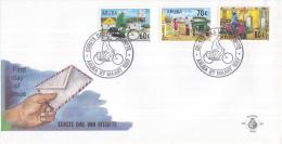 Aruba - FDC68 - America-zegels UPAEP, De Besteller Door De Jaren Heen - Op De Fiets/Met De Jeep/Op De Scooter - NVPH E68 - Curaçao, Nederlandse Antillen, Aruba