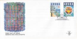 Aruba - FDC67 - Jaar Van Het Papiamento - Bord Bij Strand/Zonsopgang - NVPH E67 - Curaçao, Nederlandse Antillen, Aruba