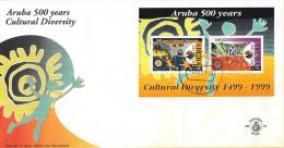 Aruba - FDC82a - 500 Jaar Culturele Diversiteit, Waarneming Arba Door Alonso De Ojeda In Augustus 1499 - NVPH E82a - Archeologie
