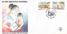 Aruba - FDC83 - 50 Jaar Nationale Bibliotheek - Kinderen, Gebouw Nu/Gebouw In 1949 - NVPH E83 - Curaçao, Nederlandse Antillen, Aruba