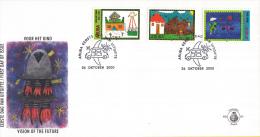 Aruba - FDC91 - Kinderzegels - Huis Met Zonnepanelen/Huis, Heuvels, Meisje/Vliegende Auto's - NVPH E91 - Curaçao, Nederlandse Antillen, Aruba