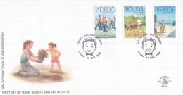 Aruba - FDC98 - Kinderzegels, Het Internationale Jaar Van De Vrijwilloigers - NVPH E97 - Curaçao, Nederlandse Antillen, Aruba