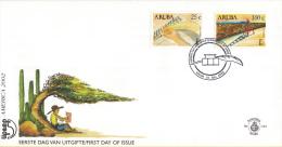 Aruba - FDCE101 - America-zegels 2002, Campagne Tegen Analfabetisme - Hand Die Alfabet Schrijft/Jongen - NVPH E101 - Curaçao, Nederlandse Antillen, Aruba