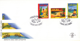 Aruba - FDCE103 - Kinderzegels - Leguaan En Geit/Schildpad En Krab/Pelikaan En Parkiet - NVPH E103 - Curaçao, Nederlandse Antillen, Aruba
