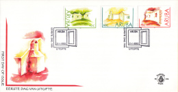 Aruba - FDCE104 - Lemen Huisjes - Groen/Geel En Groen/Rood - NVPH E104 - Curaçao, Nederlandse Antillen, Aruba