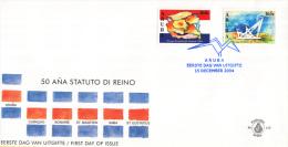 Aruba - FDCE115 - 50 Jaar Statuut Voor Het Koninkrijk - Eilanden Op Vlag/Statuut Monument - NVPH E115 - Curaçao, Nederlandse Antillen, Aruba