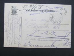 Feldkorrespondenzkarte Feldpost Feldpostamt CHELM - Graz 1916  ///  D*16669 - Briefe U. Dokumente