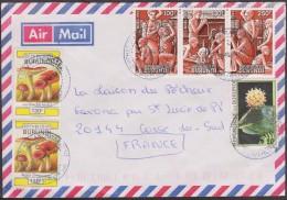 Burundi 2004 COB 1002 X 2, 1039/41 Se-tenant Et 1060 Sur Lettre Pour La Corse. Champignons, Noël, Fleur - Burundi