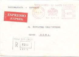 MUNICIPIO DI NOVI LIGURE - 15067 - ALESSANDRIA - R/EXP/AMR - 1980 - FTO 12X17 - TEMATICA TOPIC STORIA COMUNI D´ITALIA - Machine Stamps (ATM)