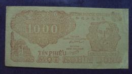 North Vietnam Viet Nam Tin Phieu 1000 Dong AU Banknote 1951 / 02 Images - Vietnam