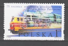 Poland 2001 Polen Mi 3920 75th Anniversary Railway Company PKP / 75. Jahrestag Eisenbahngesellschaft PKP **/MNH - Trains