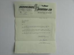 Facture Invoice Lettre 1968 Brooklands Aviation LTD Outlands Park Weybridge Airplane Plane Avion Logo - Royaume-Uni