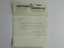 Facture Invoice Lettre 1968 Brooklands Aviation LTD Outlands Park Weybridge Airplane Plane Avion Logo - United Kingdom
