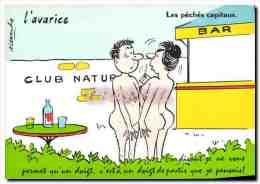 CPM L Avarice Les Peches Capitaux Club Naturiste - Humour