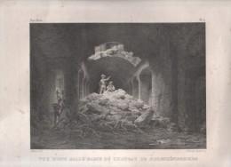 GRAVURE ANCIENNE BAS RHIN - VUE D'UNE SALLE BASSE DU CHATEAU DE HOHENKÖNIGSBOURG ( HAUT KOENIGSBOURG ) - ATHALIN DEL. - Prints & Engravings