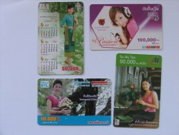 Laos 4 Télécartes Diverses - Tarjetas Telefónicas