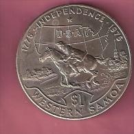 SAMOA TALA 1976 UNC EQUESTRIAN AND USA MAP HORSE