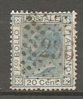Yvert : N°  23; Sass N° 26  (o)  20c  Bleu    Cote  1 Euros BE  2 Scans - 1861-78 Vittorio Emanuele II