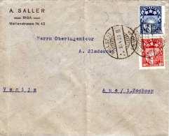 LETTLAND 1923 - 2 X Postage On Letters - 2 Fach Frankierung Auf Brief V.Riga N.Aue In Sachsen, Brief Gefaltet - Lettland
