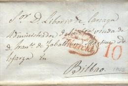 Prefilatelia Año 1842 Carta  De Murcia A Bilbao  Marcas Nº9 Murcia, Porteo 10 - ...-1850 Prefilatelia