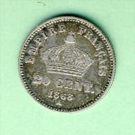 20 CEMTIMES- GRAVEUR  BARRE  1868 A  N93 - E. 20 Centesimi